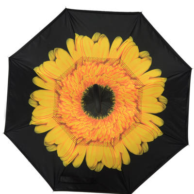 反向伞创意汽车雨伞反骨可站立免持式双层直杆伞 均码 向日葵