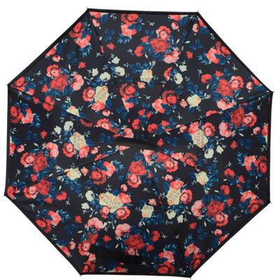 反向伞创意汽车雨伞反骨可站立免持式双层直杆伞 均码 小碎花
