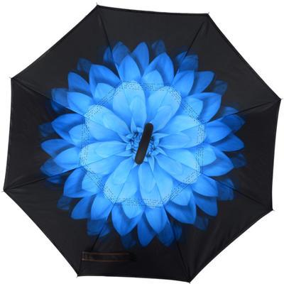 反向伞创意汽车雨伞反骨可站立免持式双层直杆伞 均码 夜雪