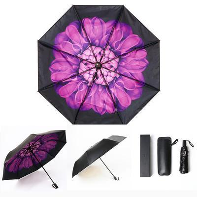 焦下同款小黑伞 三折叠防晒太阳伞超强防紫外线双层伞 晴雨伞 均码 黛紫