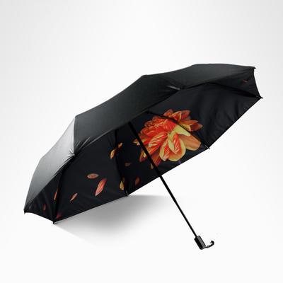 焦下同款小黑伞 三折叠防晒太阳伞超强防紫外线双层伞 晴雨伞 均码 槐黄