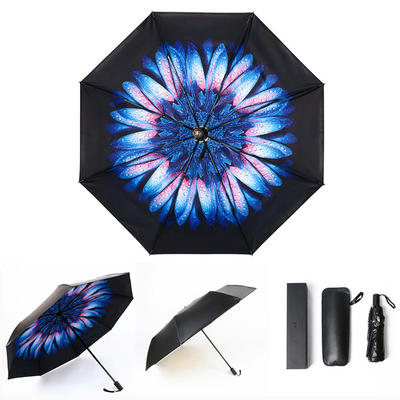 焦下同款小黑伞 三折叠防晒太阳伞超强防紫外线双层伞 晴雨伞 均码 乱花