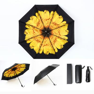 焦下同款小黑伞 三折叠防晒太阳伞超强防紫外线双层伞 晴雨伞 均码 落柿