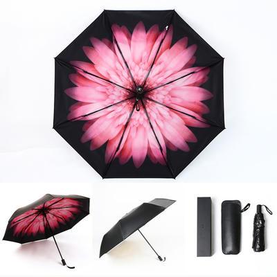 焦下同款小黑伞 三折叠防晒太阳伞超强防紫外线双层伞 晴雨伞 均码 浅妃