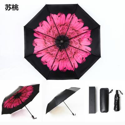 焦下同款小黑伞 三折叠防晒太阳伞超强防紫外线双层伞 晴雨伞 均码 苏桃