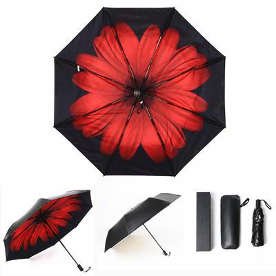 焦下同款小黑伞 三折叠防晒太阳伞超强防紫外线双层伞 晴雨伞 均码 胭脂红