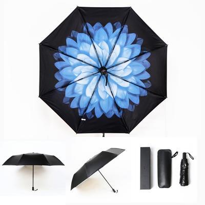 焦下同款小黑伞 三折叠防晒太阳伞超强防紫外线双层伞 晴雨伞 均码 夜雪