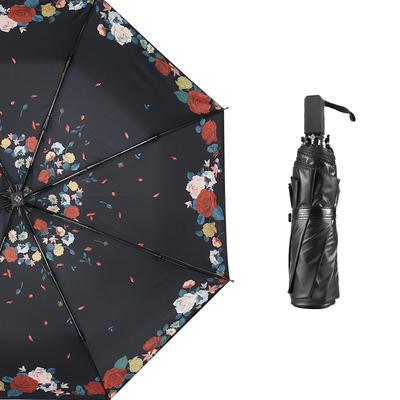 焦下同款小黑伞 三折叠防晒太阳伞超强防紫外线双层伞 晴雨伞 均码 夜莺