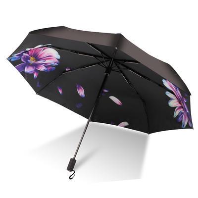 焦下同款小黑伞 三折叠防晒太阳伞超强防紫外线双层伞 晴雨伞 均码 月紫