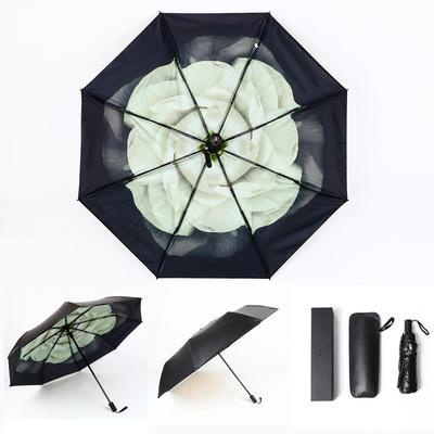 焦下同款小黑伞 三折叠防晒太阳伞超强防紫外线双层伞 晴雨伞 均码 栀子花开
