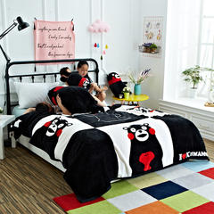 IP卡通系列IP卡通系列-熊本系列 法莱绒毛毯(熊本熊) 200*230cm 黑白熊本熊
