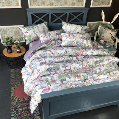 2018新款长绒棉数码印花系列四件套(实拍图) 1.8m(6英尺)床 爱丽丝