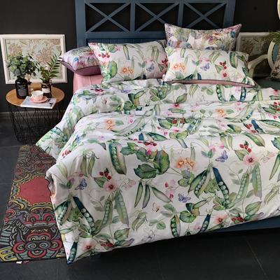 2018新款长绒棉数码印花系列四件套(实拍图) 1.8m(6英尺)床 花香漫醒