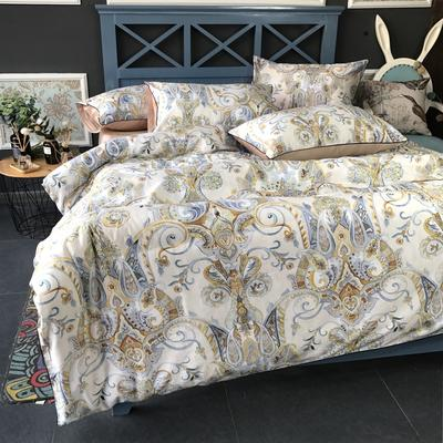 2018新款长绒棉数码印花系列四件套(实拍图) 1.8m(6英尺)床 卢浮花园