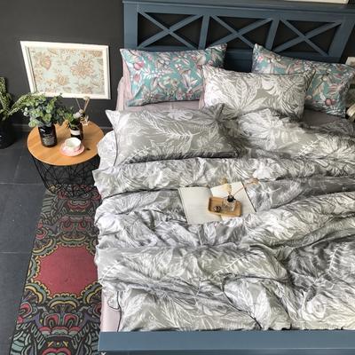 2018新款长绒棉数码印花系列四件套(实拍图) 1.8m(6英尺)床 叶韵