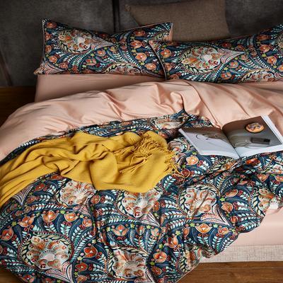 2018新款长绒棉数码印花系列四件套 1.8m(6英尺)床 01270-华尔兹