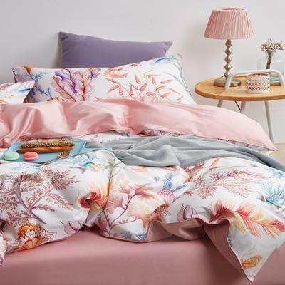 2018新款长绒棉数码印花系列四件套 1.8m(6英尺)床 01277海洋日记