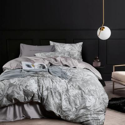 2018新款长绒棉数码印花系列四件套 1.8m(6英尺)床 01286叶 韵