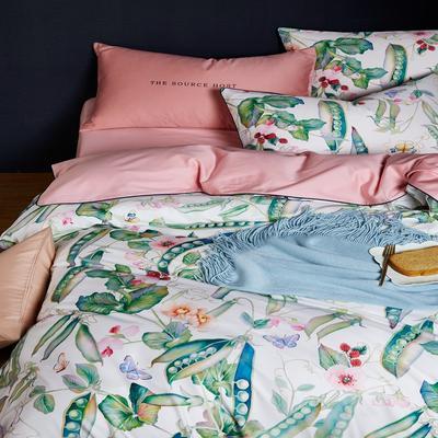 2018新款长绒棉数码印花系列四件套 1.8m(6英尺)床 01550花香漫醒
