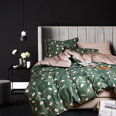 2018新款长绒棉数码印花系列四件套 1.8m(6英尺)床 01554花开琉璃