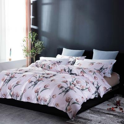 2018年60新款长绒棉印花四件套 1.8m(6英尺)床 安吉丽