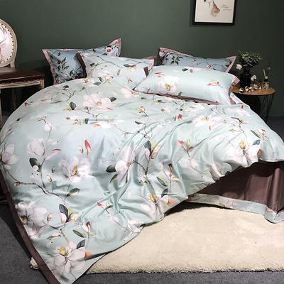 2018新款长绒棉数码印花系列四件套 1.8m(6英尺)床 春令