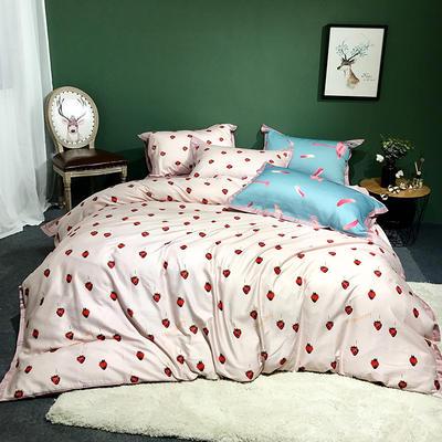 2018新款长绒棉数码印花系列四件套 1.8m(6英尺)床 小草莓