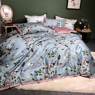 2018新款长绒棉数码印花系列四件套 1.8m(6英尺)床 倚梅