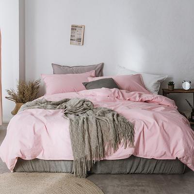 2019新款60水洗棉四件套 1.8m(6英尺)床 荷粉
