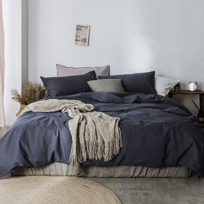 2019新款60水洗棉四件套 1.8m(6英尺)床 静蓝