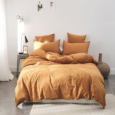 2019新款60水洗棉四件套 1.8m(6英尺)床 霓黄