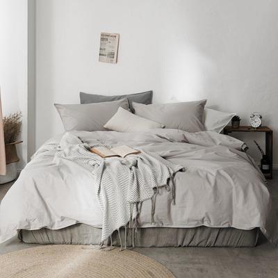 2019新款60水洗棉四件套 1.8m(6英尺)床 若灰