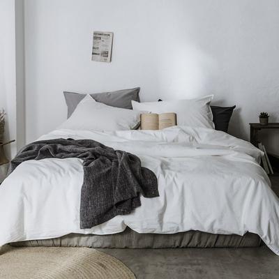 2019新款60水洗棉四件套 1.8m(6英尺)床 牙白