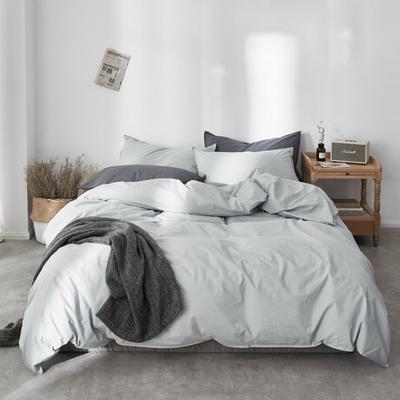 2019新款60水洗棉四件套 1.8m(6英尺)床 蓝灰
