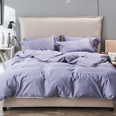 2019新款长绒棉小边工艺款四件套 1.8m(6英尺)床 灰紫