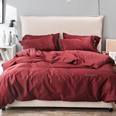 2019新款长绒棉小边工艺款四件套 1.8m(6英尺)床 珞红