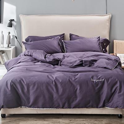 2019新款长绒棉小边工艺款四件套 1.8m(6英尺)床 玛莎紫