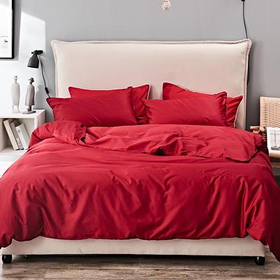 2019新款长绒棉小边工艺款四件套 1.8m(6英尺)床 新大红