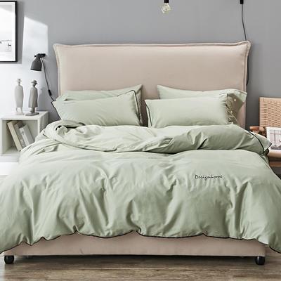 2019新款长绒棉小边工艺款四件套 1.8m(6英尺)床 芽绿