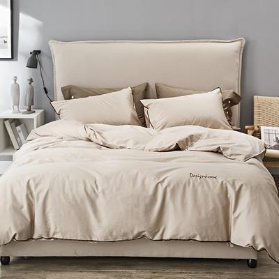 2019新款长绒棉小边工艺款四件套 1.8m(6英尺)床 与咖