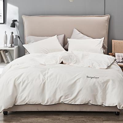 2019新款长绒棉小边工艺款四件套 1.8m(6英尺)床 珍珠白