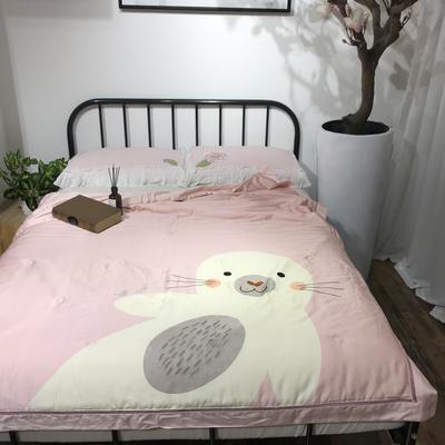 2019新款40天丝平网印花夏被-卡通平网 150x200cm Yuki海豹-桃粉