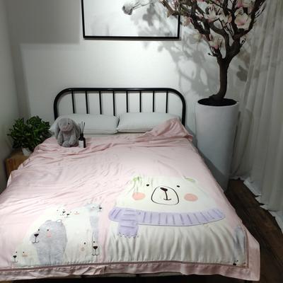 2019新款40天丝平网印花夏被-卡通平网 150x200cm 一个夏天的奥德赛-桃粉