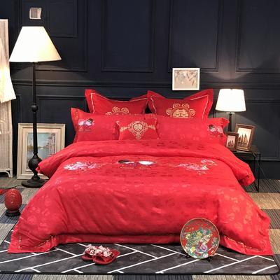 蕴珂家纺  全棉提花绣花婚庆四件套  可配至六件套 1.8m(6英尺)床 相亲相爱