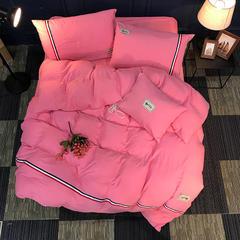水洗棉四件套 简约水洗棉四件套 标准(1.5m-1.8m床) 粉红