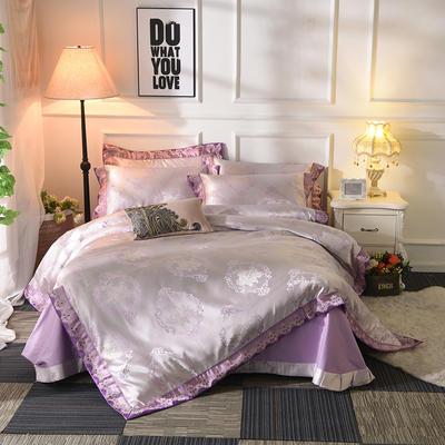 极奢3D浮雕臻锦缎四件套 1.5m(5英尺)床 爱妃玛丽-紫