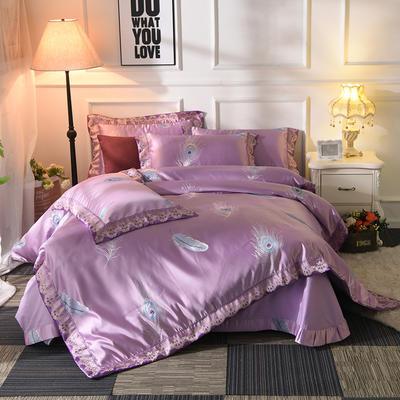 极奢3D浮雕臻锦缎四件套 1.8m(6英尺)床 羽纷飞-紫