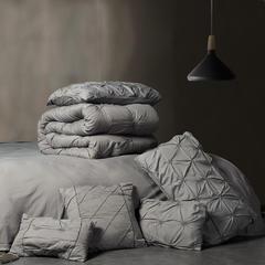 水洗长绒棉纯色立体揪花9件套 1.8m(6英尺)床 灰色