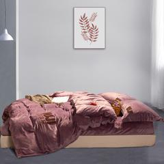 无印良品风宝宝绒保暖四件套 1.5m(5英尺)床 豆沙