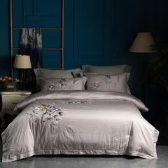 80S匹马长绒棉重工绣花四件套 1.8m(6英尺)床 满园春色 银色